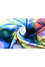 100% Viscose Digitaal Print Gerbera en Rozen Blauw