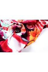 100% Viskose Digital Printed Gerbera und Rose Red