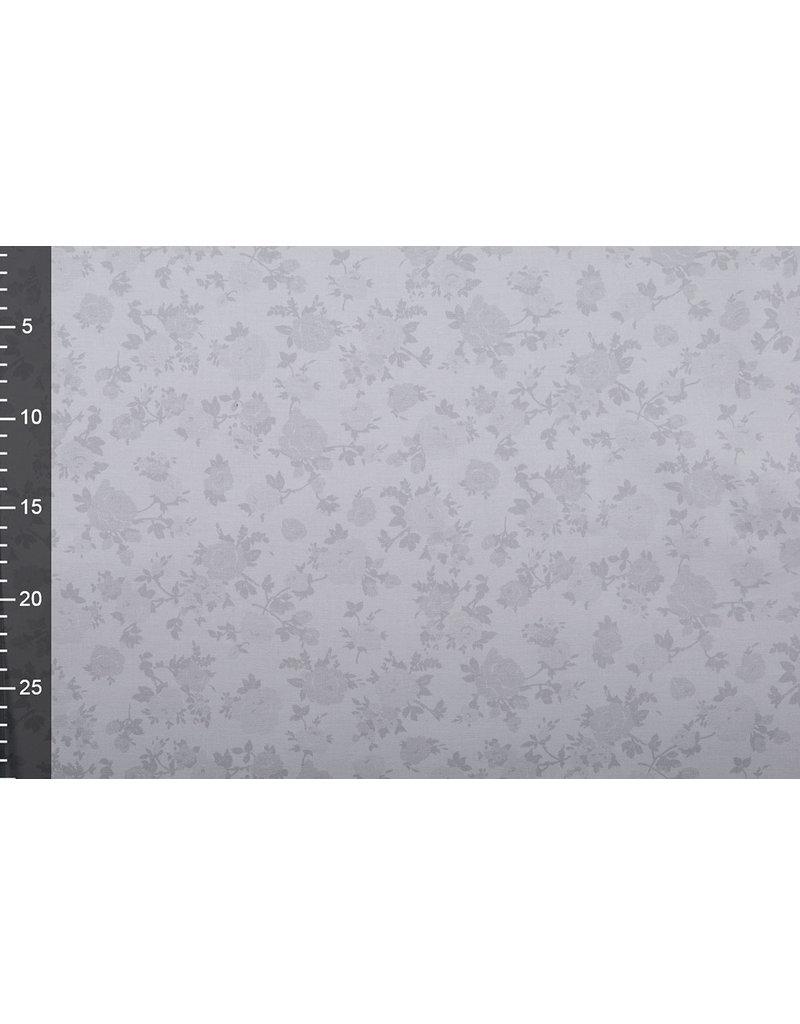 Baumwoll-Stretch Rosenbusch Grau