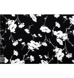 Crepe polyester Poppe Zwart