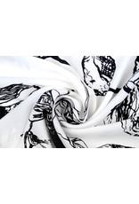 Crepe polyester Sketch Bloem Wit
