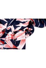 Crepe polyester Bamboo blad Koraal Marine