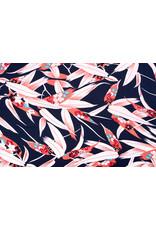 Crepe polyester Bambus, Blatt Korallen Marine