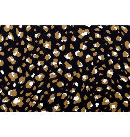 Crepe polyester Panter Zwart Bruin