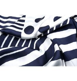 Silk Satin Stripes Polka Dots Navy