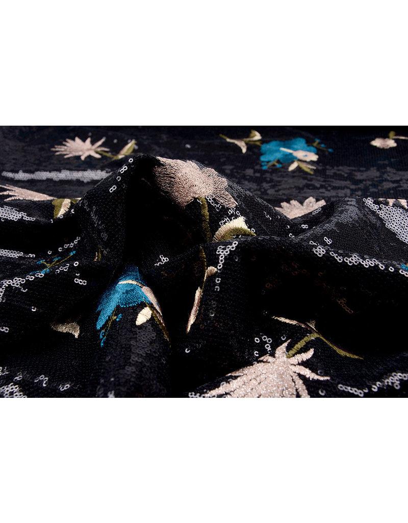Paillet Geborduurd Bloem Zwart Aqua