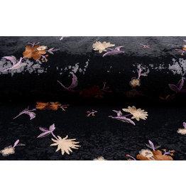 Pailletten gestickte Blume schwarz Brique