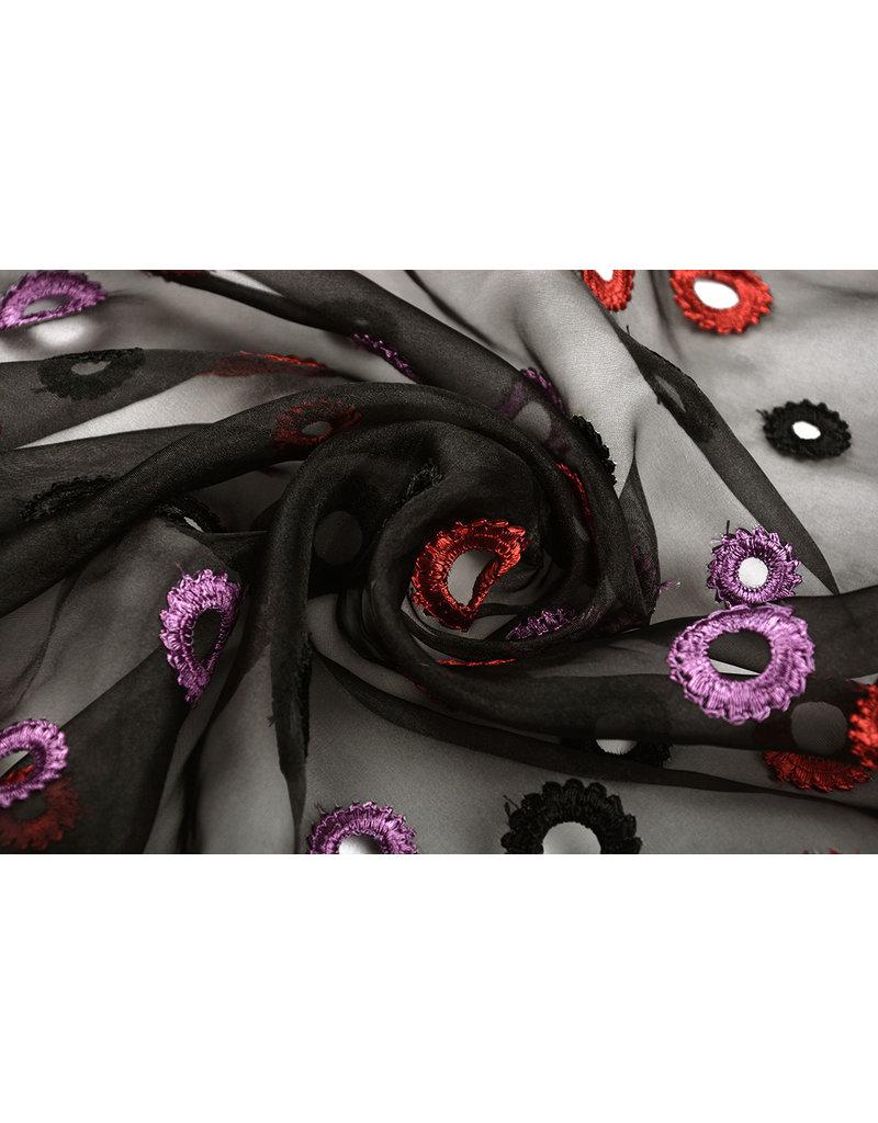 Organza Geborduurde Cirkels Zwart Rood Paars