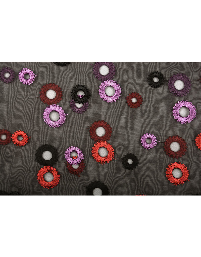 Organza Embroidered Circles Black Red Purple