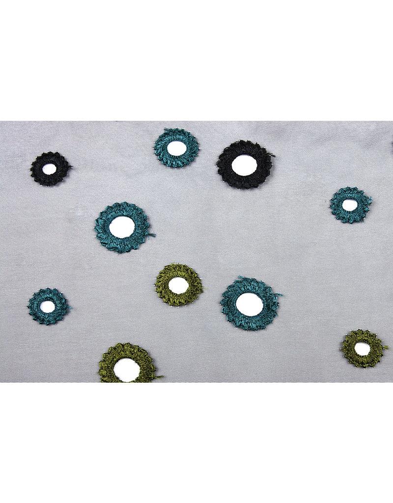 Organza Geborduurde Cirkels Zwart Groen Blauw