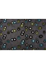 Organza Embroidered Circles Black green blue