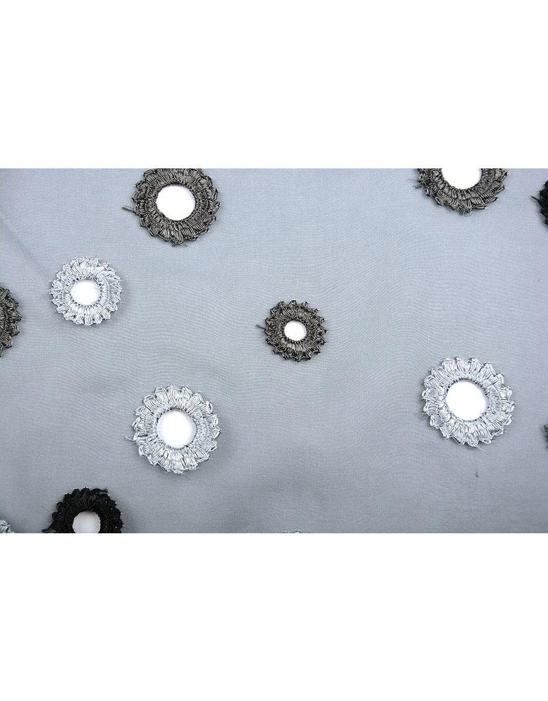 Organza Embroidered Circles Gray silver
