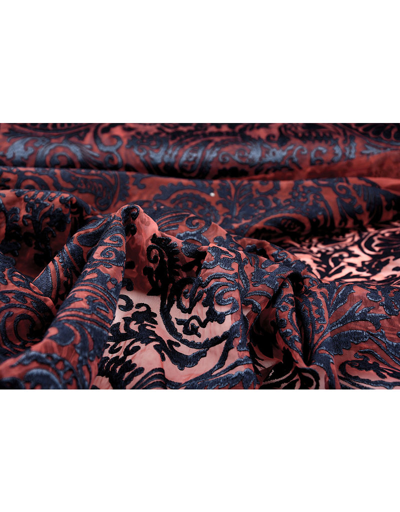 Organza Baroque Embroidered Red Navy