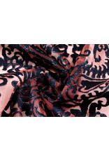 Organza Barok Geborduurd Rood Marine