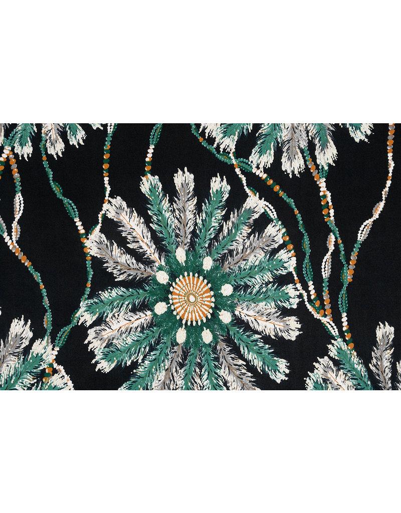 Cotton Jersey Simmer Dreamcatcher Black Green