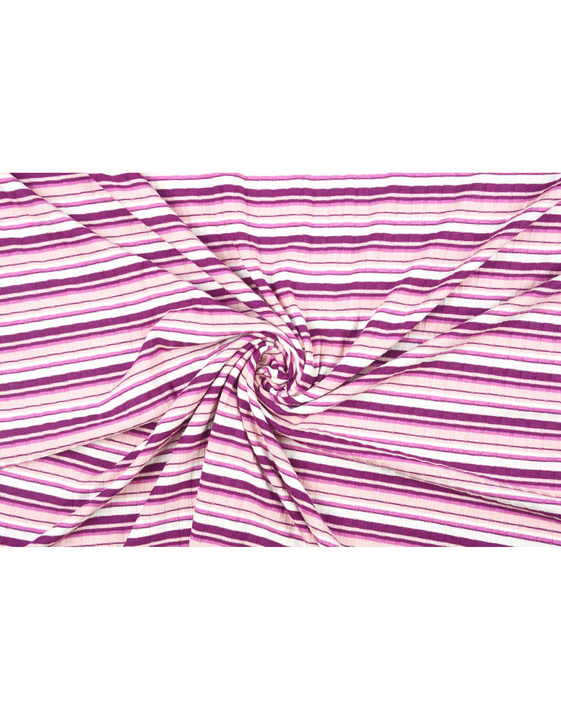 Cotton Jersey  Multi stripes Old Pink