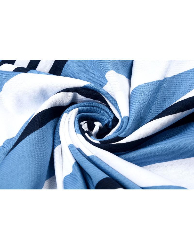 Cotton Jersey Rami Striped Blue