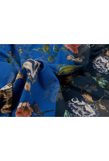 Travel Crepe Simmer Flowery Two-tone Blue