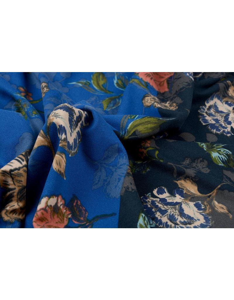 Travel Crepe Simmer Flowery Tweekleurig Blauw
