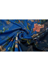 Lycra tricot Crepe Simmer Flowery Tweekleurig Blauw