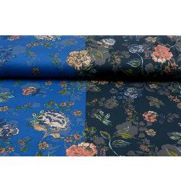 Lycra Trikot Crepe  Simmer Flowery Zweifarbiges Blau
