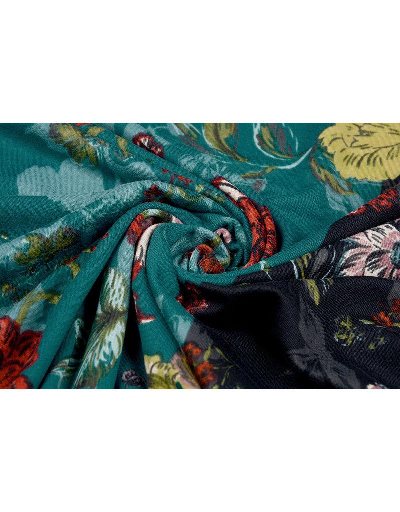 Lycra Trikot Crepe  Simmer Flowery Zweifarbiges Grün schwarz