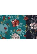 Lycra Tricot Simmer Flowery Tweekleurig Groen Zwart