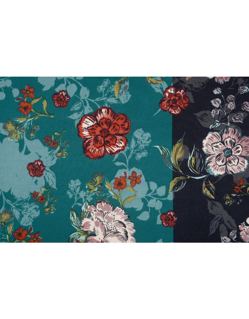 Lycra tricot Crepe Simmer Flowery Tweekleurig Groen Zwart