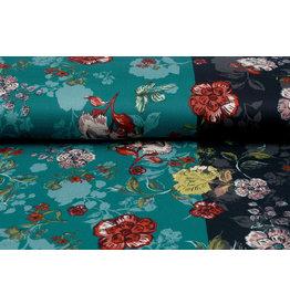 Lycra Trikot Simmer Flowery Zweifarbiges Grün Schwarz
