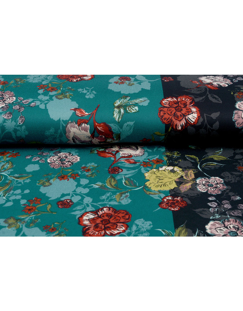 Travel Crepe Simmer Flowery Two-tone Green black