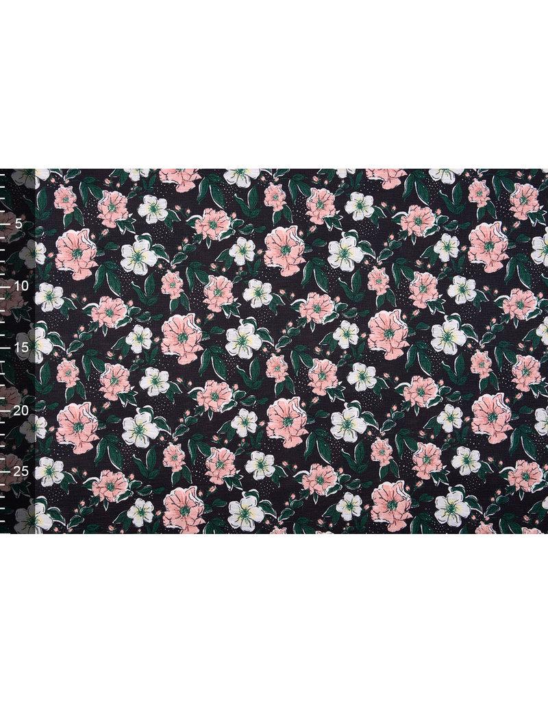 Blouse Fabric Eksepi Flowers Black
