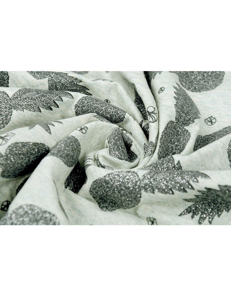 Mi & Joe Cotton Jersey Ananas Glitter Oud Groen melange