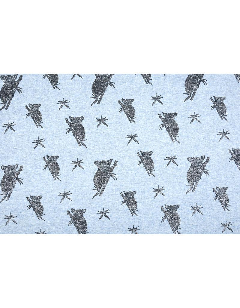 Mi & Joe Cotton Jersey Koala Glitter Licht blauw melange