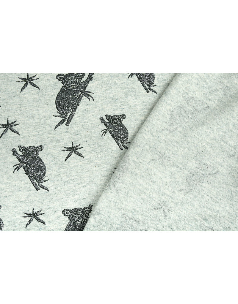 Mi & Joe Cotton Jersey Koala Glitter Oud Groen melange