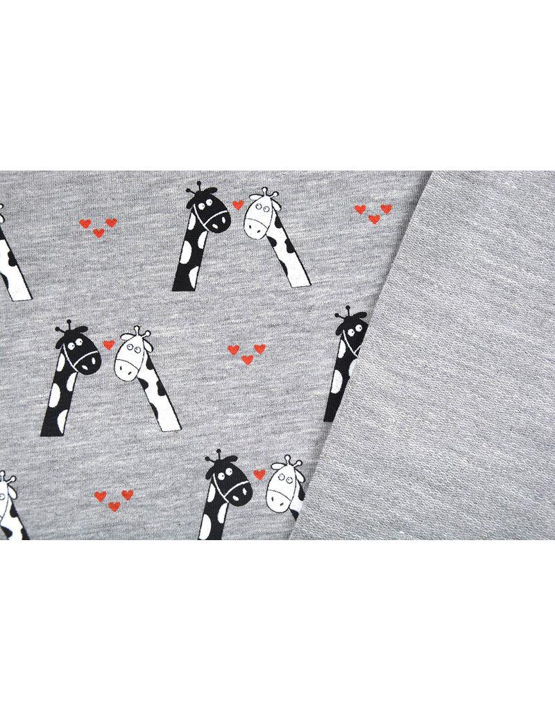 Mi & Joe Mi & Joe French Terry Giraffe in Love Grau Melange