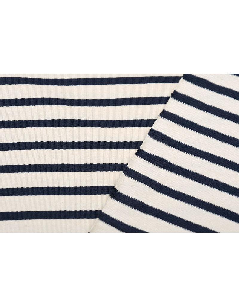 Cotton Jersey Grote Streep Creme Marine