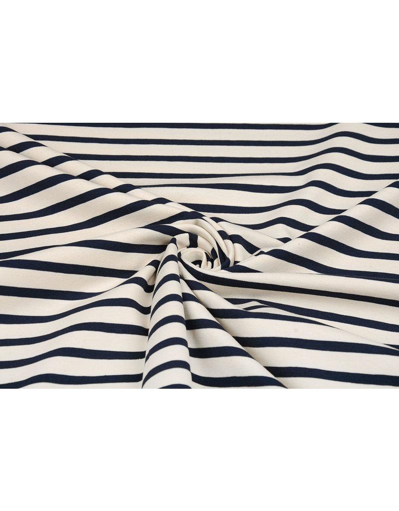 Baumwolljersey Großer Streifen Creme Marineblau