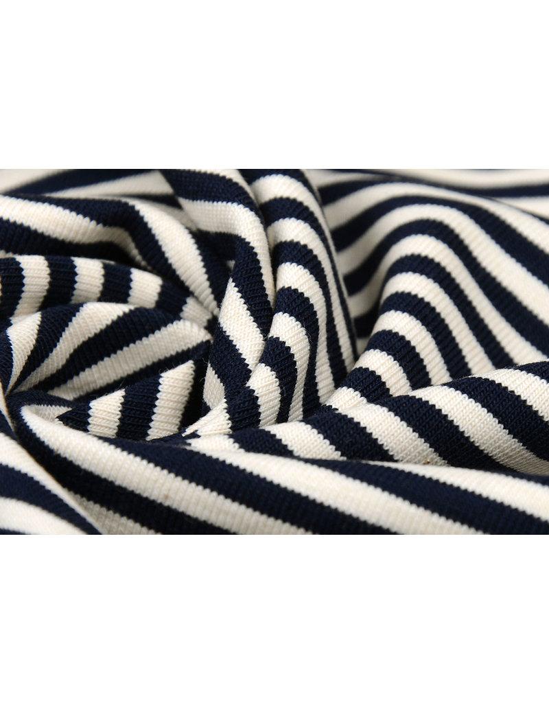 Cotton Jersey middel Streep Marine Creme