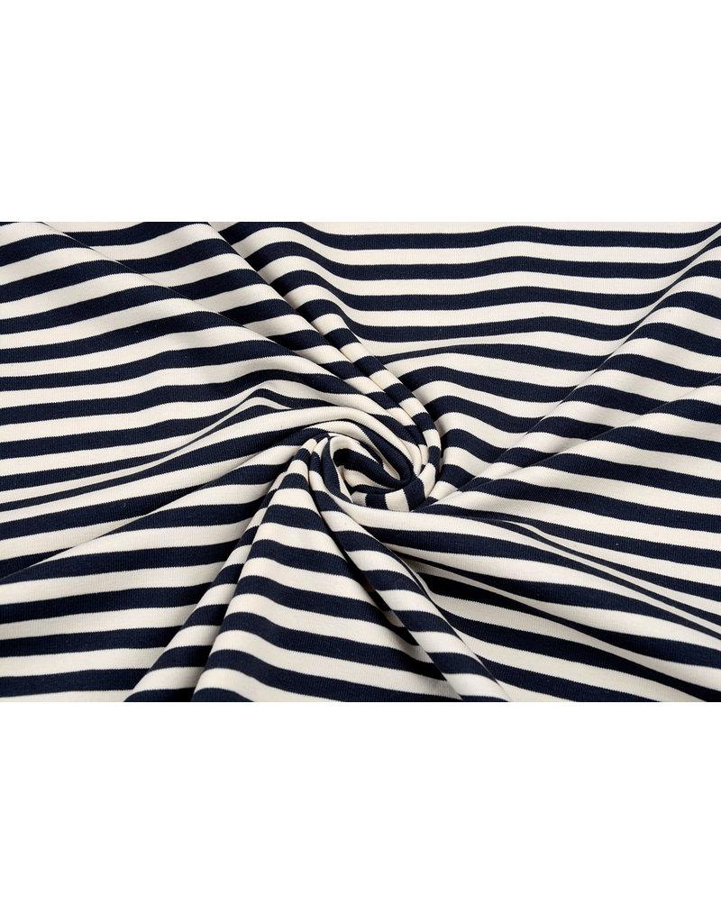 Baumwolljersey Streifen Creme Marineblau