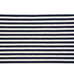 Cotton Jersey Stripe Creme Navy