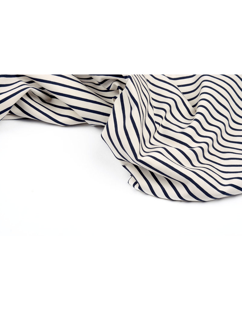 Cotton Jersey Large Small Stripe Creme Navy