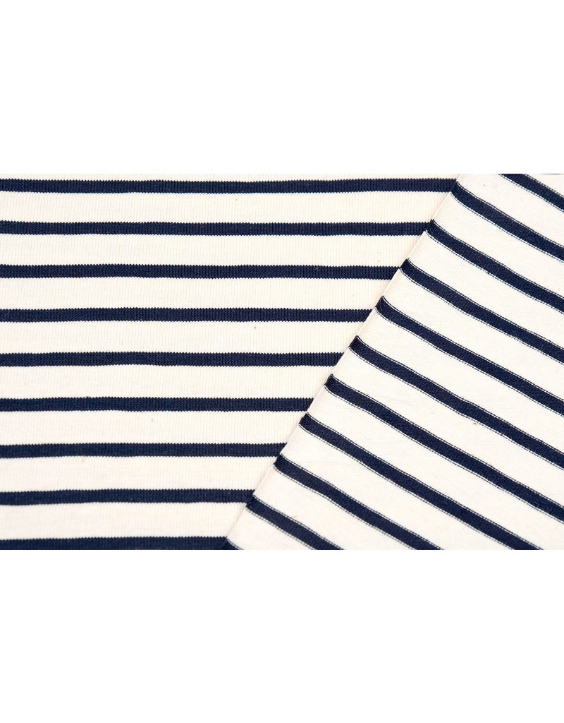 Cotton Jersey Large Small Stripe Creme Navy