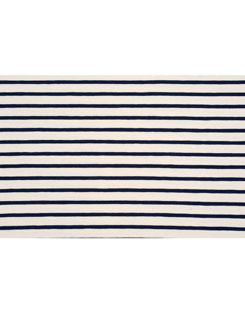 Cotton Jersey Grote kleine Streep Creme Marine