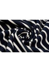 Baumwolljersey Großer Kleine Streifen Marineblau Creme