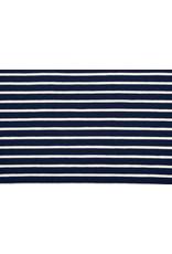 Cotton Jersey Grote kleine Streep Marine Creme