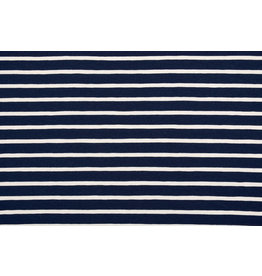 Cotton Jersey Large Small Stripe Navy Creme