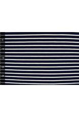 Baumwolljersey Großer Streifen Marineblau Creme