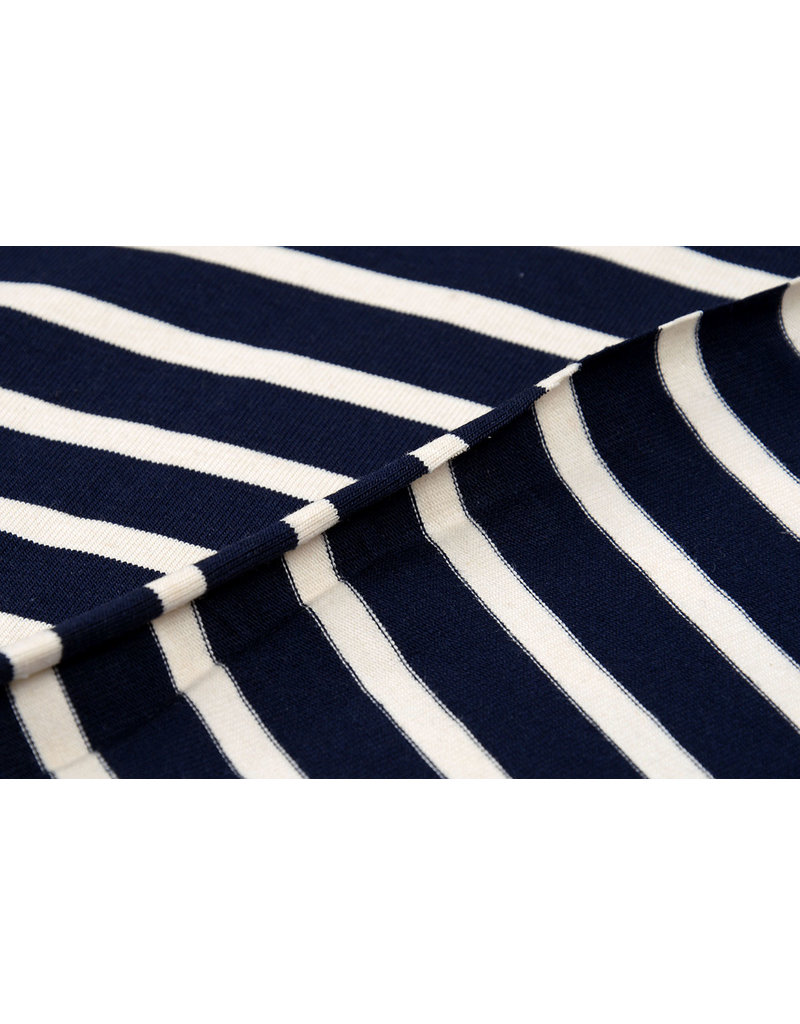 Cotton Jersey Grote Streep Marine Creme