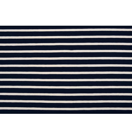 Cotton Jersey Large Stripe Navy Creme