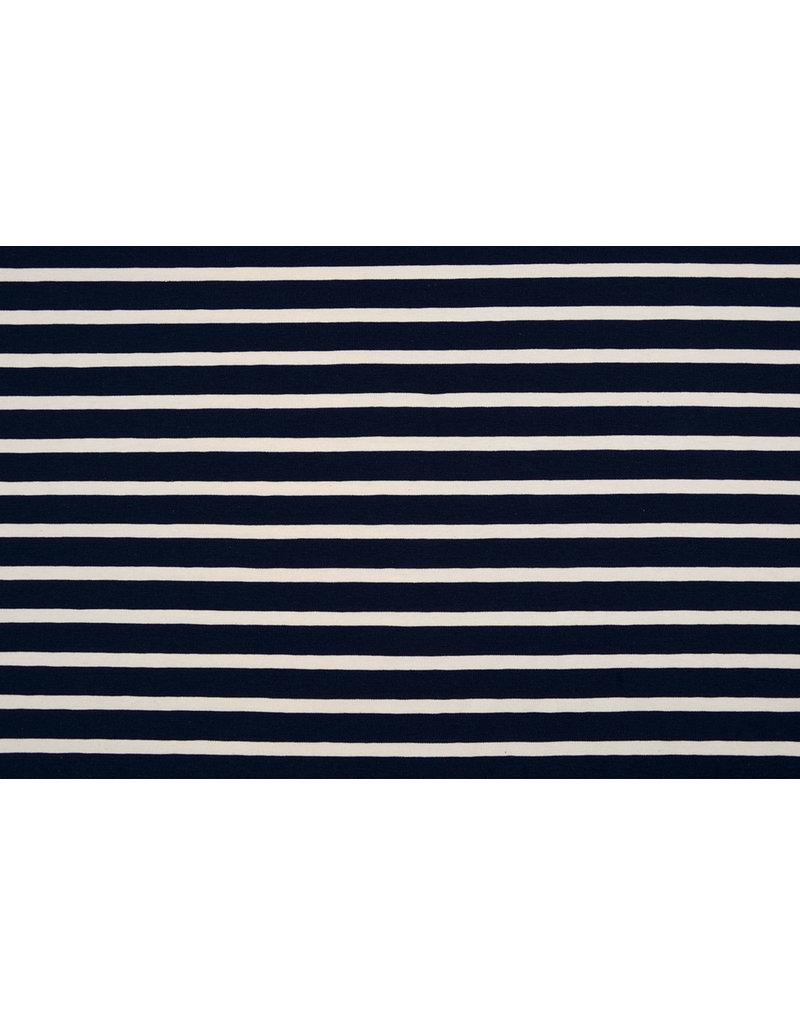 Cotton Jersey Large Stripe Navy Creme